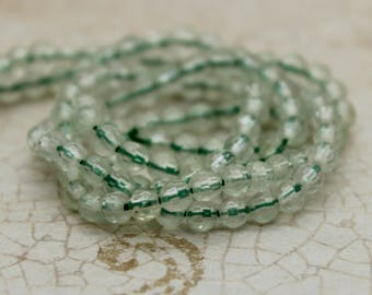 Prehnite Faceted Round Transparent Natural Gemstone Beads (3mm)