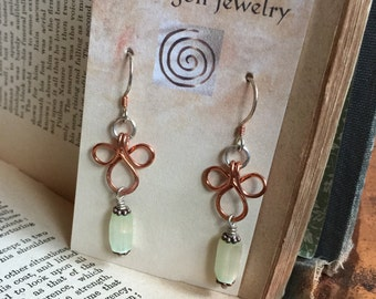 Mixed Metal Copper and Sterling Silver Power of Three Repurposed Vintage Bead Earrings