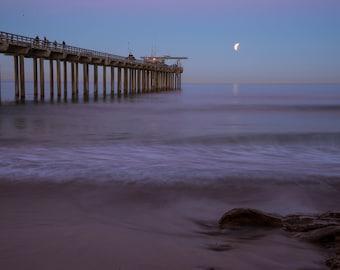 Scripps Pier Setting moon