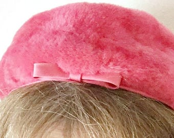 Vintage 1960s Saks Fifth Avenue Pillbox Hat Deep or Shocking Pink Jackie O Designer Look Faux Fur Union Made Millinery Fashion Accessory