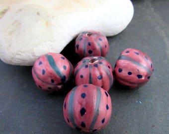 5 Round Red Purple Handpainted Ceramic Melon Beads