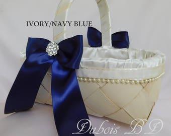 Navy blue Flower girl basket, Ivory Flower girl basket, Wedding basket, Burgundy, basket, pink basket, wicker basket, rustic basket