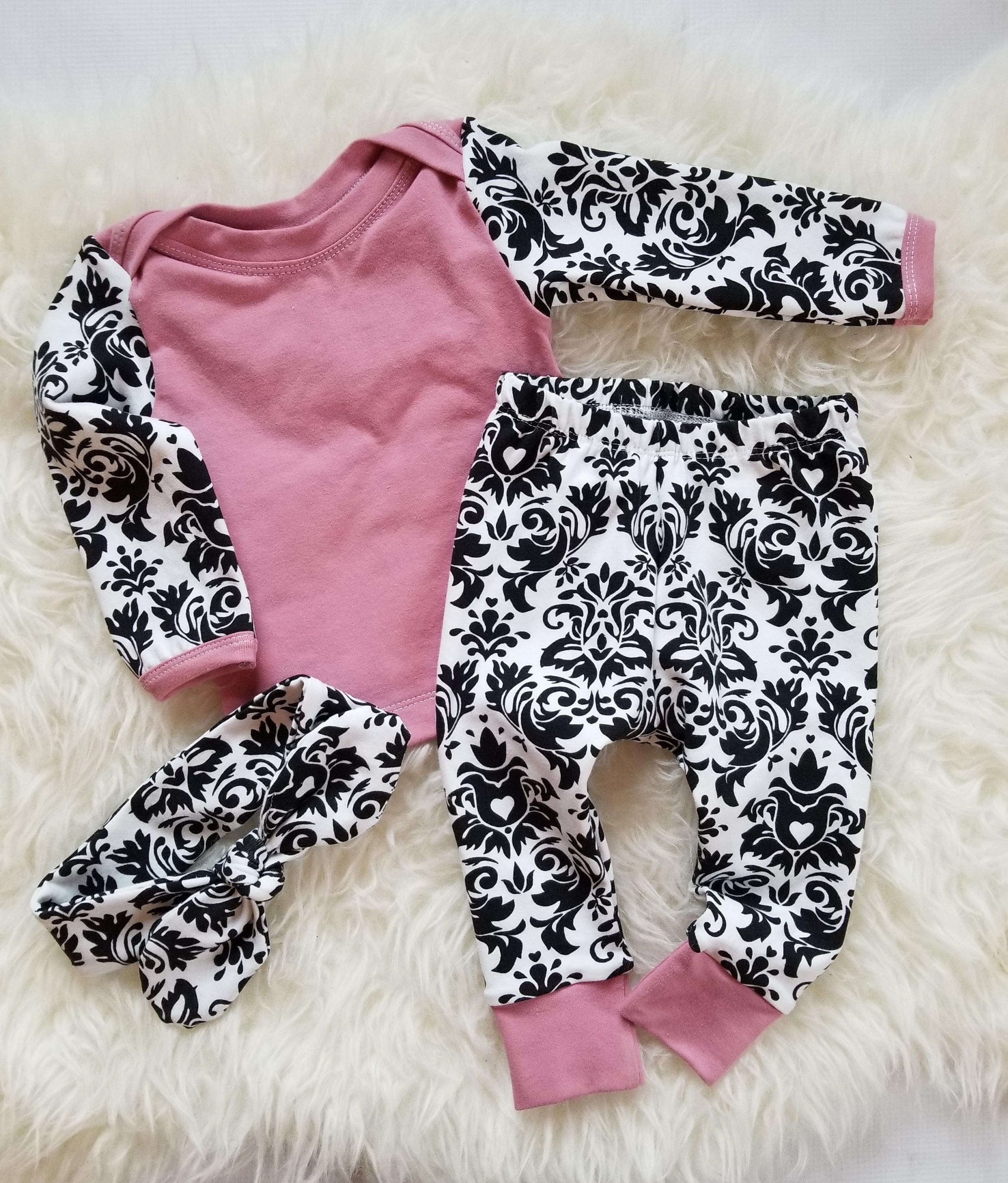 Black & White damask Baby girl clothes New baby outfit Baby