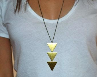 3 Triangles necklace - boho Jewelry - Brass triangle