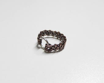 handmade ring,copper rings, woven copper ring,wire wrapped copper ring,boho jewelry,mens copper ring, womens rings