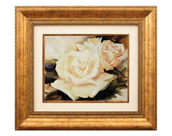 Flowers Wall Art Oil Painting on Canvas - Hand Painted Framed & Ready to Hang