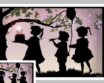 Birthday Greeting Card, Silhouette of Children