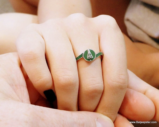 Ladies Custom Surgical Steel Green Arrow Inspired Ring