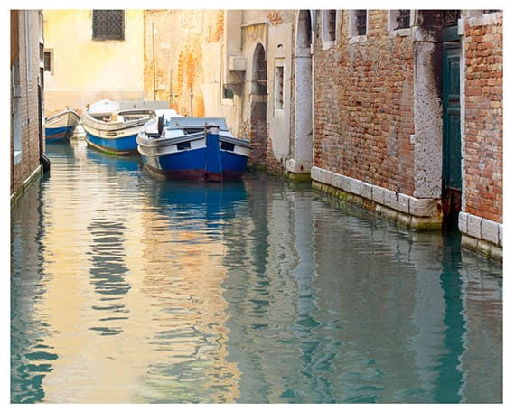 16x20, Venice, Fine Art Photography, Travel Photography, Italy, Canal, Water, Blue, Yellow, Wall Art