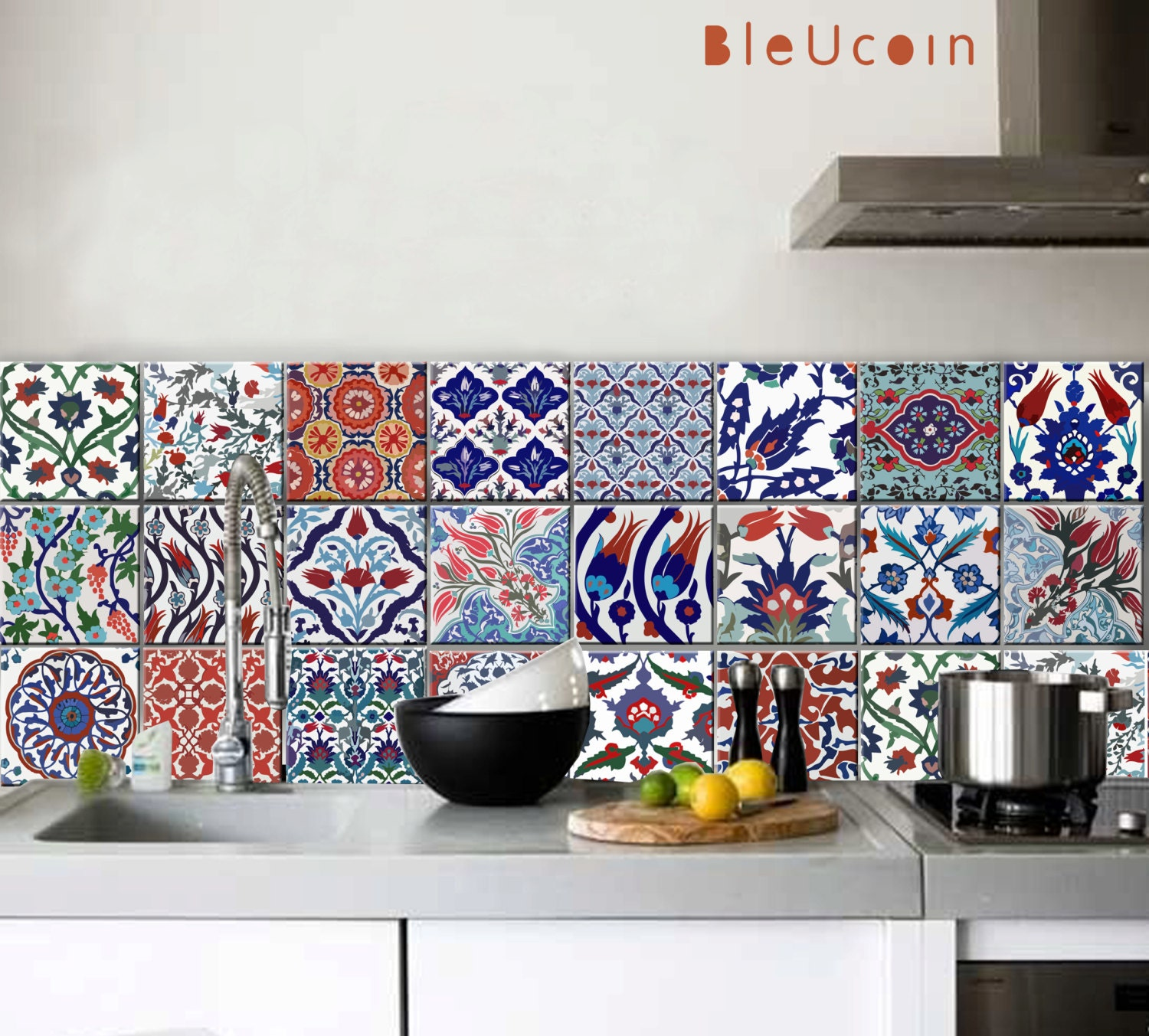 Turkish Tile/Wall/ Floor Decals for Kitchen Bathroom Stairs