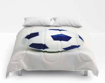 Soccer Comforter-Bed Comforter-Soccer Decor-Twin Comforter-Sports Decor-Girls Bedding-Boys Bedding-Soccer Bedding
