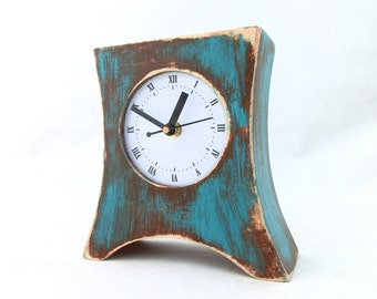 Brown Turquoise Table clock, Wood clock for Desk, Wooden Table Clock Arrow, Distressed Mantle Rustic clock, Turquoise home decor, for Mom