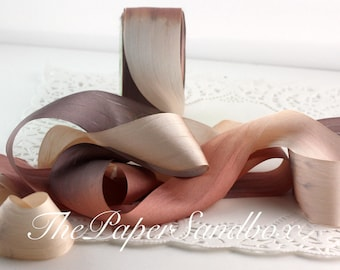 Tie Dyed Silk Ribbon, Taupe & Gray