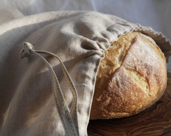 Handcrafted Natural Linen Drawstring Bread Bag - Bread Storage