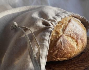 Handcrafted Natural Linen Drawstring Bread Bag - Bread Storage