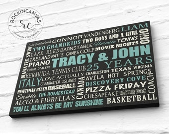 25th Anniversary Gifts for Men, 25th Wedding Anniversary, Typography wall art, Parents Anniversary Gift, Silver Anniversary, RockinCanvas