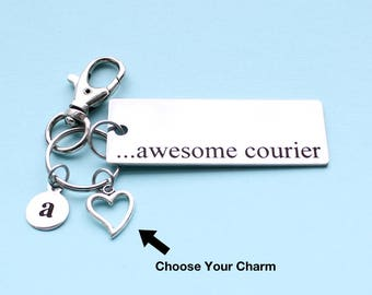 Personalized Awesome Courier Key Chain Stainless Steel Customized with Your Charm & Initial - K387
