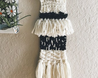 black + white || woven wall hanging || wool yarn weaving || mixed fabric art || wall tapestry ||