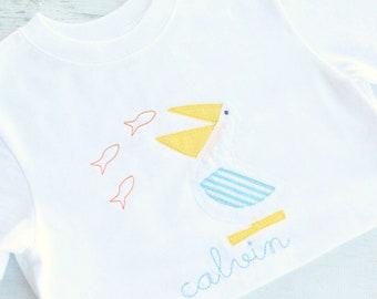 Seersucker Pelican Personalized Shirt