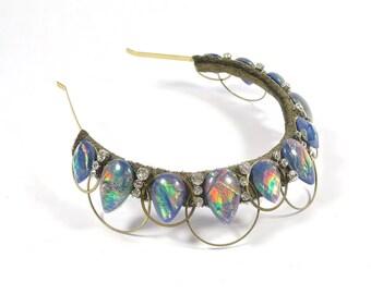 Blue Faux Fire Opal Crown - by Loschy Designs