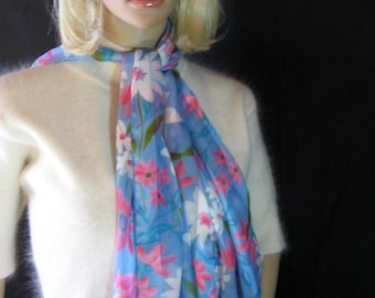 """1980's Spring Floral Print Oblong SCARF Silky Satin  Striped Measurement is 14"""" x 60"""""""