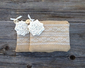 2 Bridesmaid Clutches, Personalized Clutch, Spring Wedding, Bridal Clutch, Rustic Wedding, Bridesmaid Gift for Her, Maid of Honor, Burlap