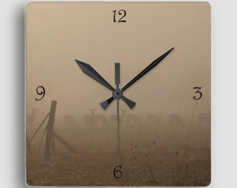 Deer in the Mist ~ Square Wall Clock / Magical Scene of Silhouetted Deer Grazing in the Fog