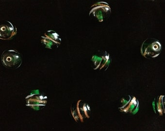 Six 10mm Green India Glass Foil Beads