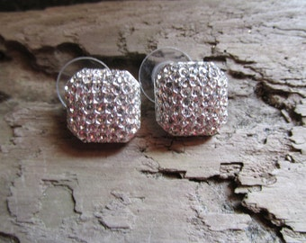 Silver Tone 1980's Pierced Rhinestone Earrings Glittery
