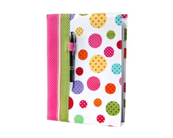Notebook cover, composition notebook cover, fabric notebook cover, journal, reusable cover, teacher gifts - Polka Dots