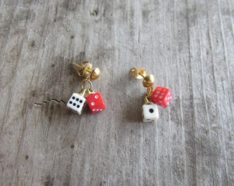 Adorable Tiny Red and White Dice Pierced Earrings
