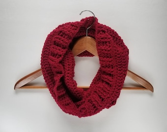 Fall/Winter Cowl, Circle Scarf, Neck Warmer, Infinity Scarf, Red Scarf