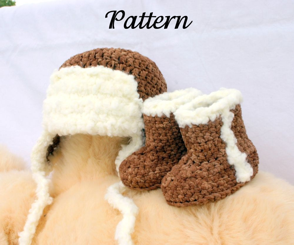 Baby aviator hat and boots PDF crochet PATTERN 0-3 months