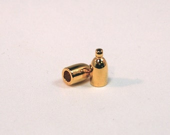 3mm Gold Plated Bullet End Caps - 1 pair