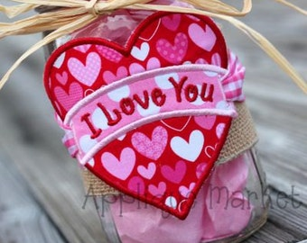 Machine Embroidery Design Applique Heart Banner Label INSTANT DOWNLOAD
