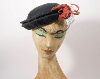 1930s hat | black hat | 30s hat | tilt hat |