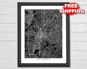 Atlanta Map Art - Map Print - Black and White - Georgia - Office Decor - Hometown - Personalized - Custom - Travel - Housewarming