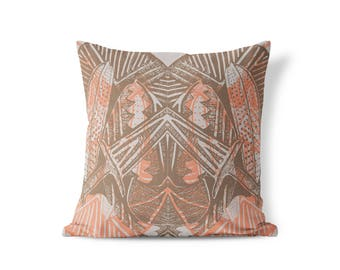Kara Pillow - Peach Mauve, Gray, Brown, Neutral - Free Shipping US