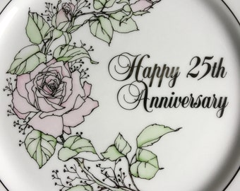 Enesco 25th Anniversary Wishes Dinner Plate Vintage 1983 - #11024
