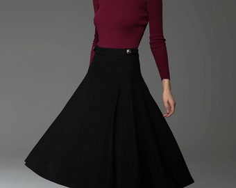Pleated skirt, black skirt, flare skirt, midi skirt, winter skirt, button skirt, winter skirt, autumn skirt, wool skirt, class skirt C771