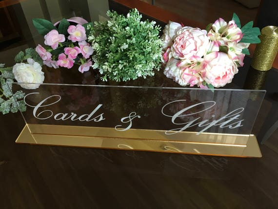 Cards and Gifts Clear Acrylic Sign Wedding Engraved Freestanding Reception Decor Gift and Cards Calligraphy Custom Table Sign Birthday sign