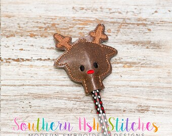 Reindeer Pencil Topper Embroidery Digital Download