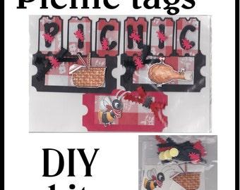 CLEARANCE SALE * Scrapbook Page Picnic Scrapbook Paper Layout kit Scrapbooking  Embellishment 3d Picnic ticket tags Scrapbook Paper Piecing