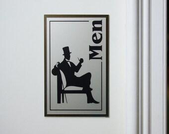"Vintage / Retro Look Restroom Signs - ""Men"" and ""Women""  Bathroom Signs (Brushed Nickel Acrylic on Bronze Acrylic)"