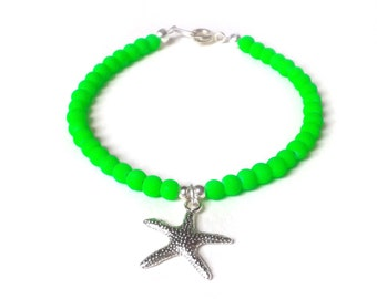 Starfish Bracelet, Neon Green Bracelet, Green Bead Bracelet, Starfish Charm Jewelry, UK Seller