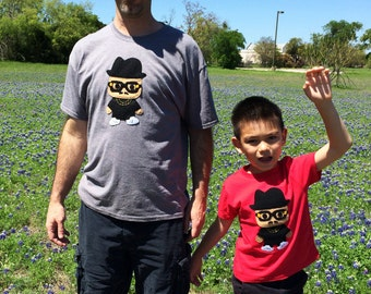 Hip Hop Shirt - Adult and Kids T-shirt Combo - Rad Rapper - Tall Hat -  Gray Mens and Red Kids Shirts - Great Dad Gift