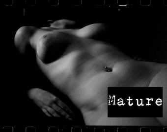 Artistic nude woman sensual Black and White fine ART film photography PRINT - Soft in the Dark - 4 - mature