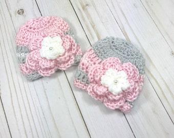 crochet preemie hats, twins hat set, pink baby hat, crochet baby hat set, crochet baby hat, baby girl hat