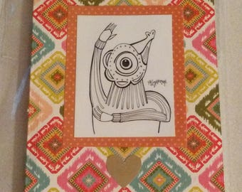 "Sally Stevens ""Squillee"" featured artwork on Colorful Journal ~ Lined Notebook 5"" x 7"" Orange"