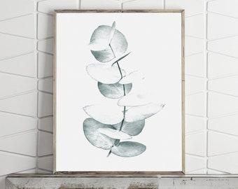 Botanical Print, Botanical Poster, Eucalyptus Print, Leaf Print, Nature Art, Teal Decor, Digital Prints Instant Download Downloadable Prints
